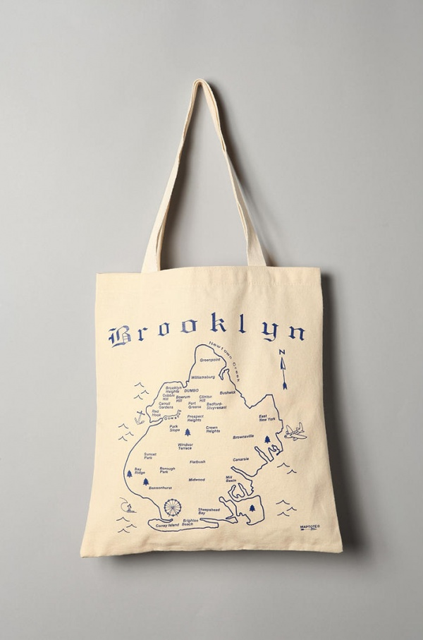 Brooklyn Map Tote Bag by Maptote 01 Brooklyn Map Tote Bag by Maptote