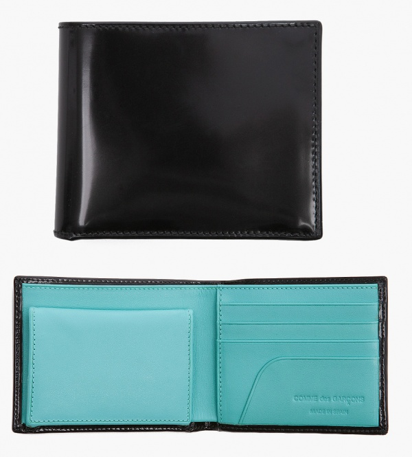 Comme Des Garcons Glossy Black and Turquoise Bifold Wallet Comme Des Garcons Glossy Black and Turquoise Bifold Wallet