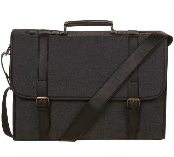 topman grey fabric briefcase Topman Grey Fabric Briefcase