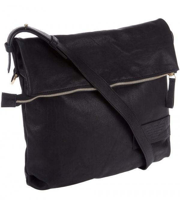 Emporio Armani Black Leather Messenger Bag01 Emporio Armani Black Leather Messenger Bag