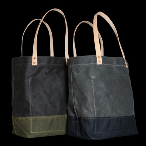 Strawfoot Handmade Waxed Canvas Tote in Dark Brown Olive 500x500 Strawfoot Handmade Wax Canvas Tote