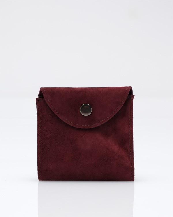113045bordeaux 2 Wood Wood Suede Pocket Wallet