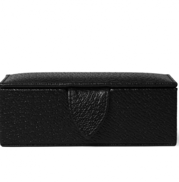 188280 mrp in xl2 Smythson Black Leather Cufflink Box