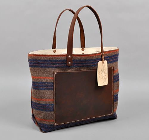 hickorees The Hill Side x Stanley & Sons Blanket Lining Stripe Tote