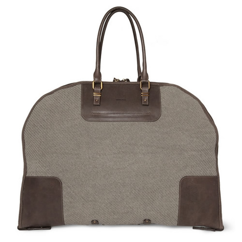 boglioli Boglioli Leather Trimmed Cotton Suit Carrier