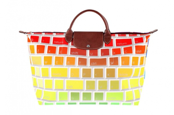 jeremy scott longchamp multicolored keyboard travel bag 1 Jeremy Scott x Longchamp Multi colored Keyboard Tote