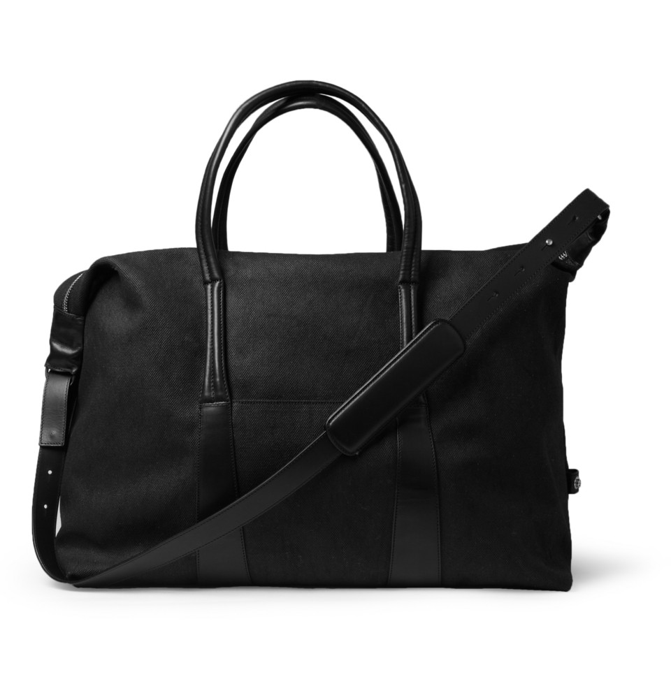 336461 mrp in xl Maison Martin Margiela Leather Trimmed Canvas Holdall Bag