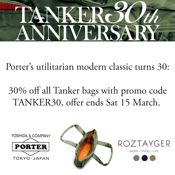 tanker30 social 2 Porter Tanker 30% off 30th Anniversary Sale at Roztayger